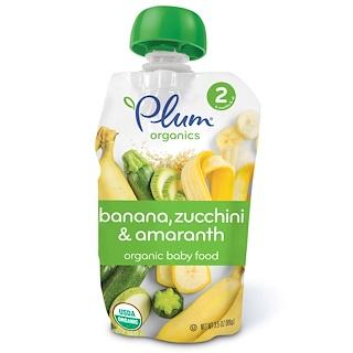 Plum Organics, オーガニックベイビーフード、ステージ2、バナナ、ズッキーニ・アマランサス、3.5 oz (99 g)
