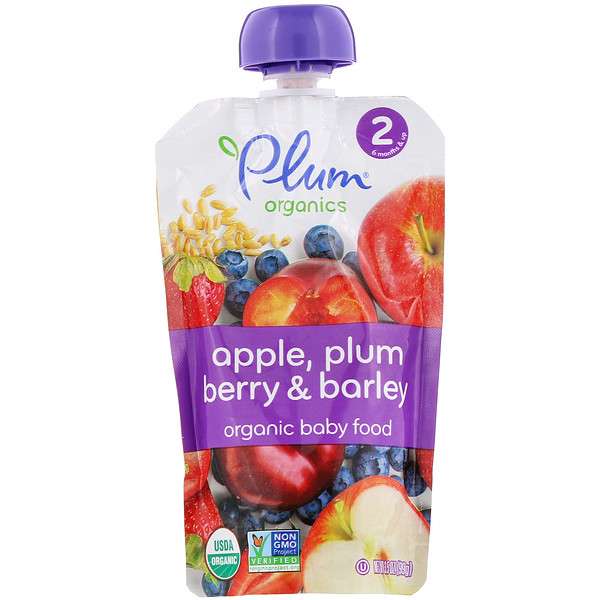 Organic Baby Food, Stage 2, Apple, Plum Berry & Barley, 3.5 oz (99 g)