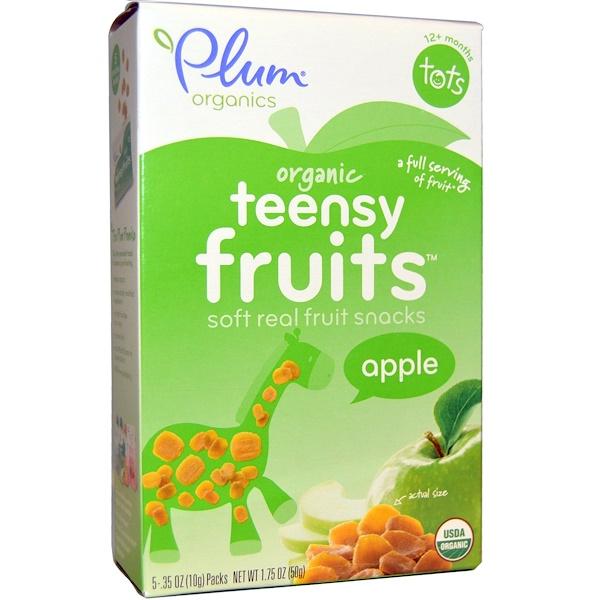 Plum Organics, Tots, фруктовые кусочки, яблоко, с 12 месяцев, 5 упаковок, 0,35 унции (10 г) каждая (Discontinued Item)