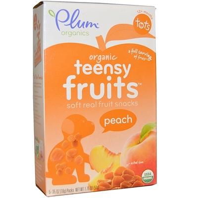Купить Детские органические снеки из мягких фруктовых кусочков Teensy Fruits, персик, от 12 месяцев, 5 упаковок, весом 10 г (0, 35 унции) каждая