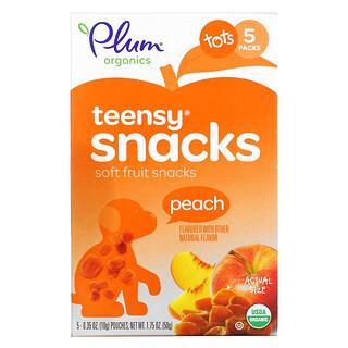 Plum Organics, Teensy Soft Fruits Snacks, Tots, Peach, 5 Packs, 0.35 oz (10 g) Each