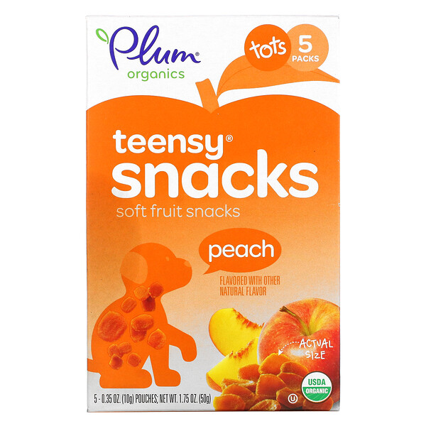 Tots, Teensy Soft Fruits Snacks, 12+ Months, Peach, 5 Packs, 0.35 oz (10 g) Each