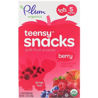 Купить Органические фруктовые кусочки, ягоды, для детей с 12 месяцев, 5 упаковок, 0, 35 унции (10 г) каждая