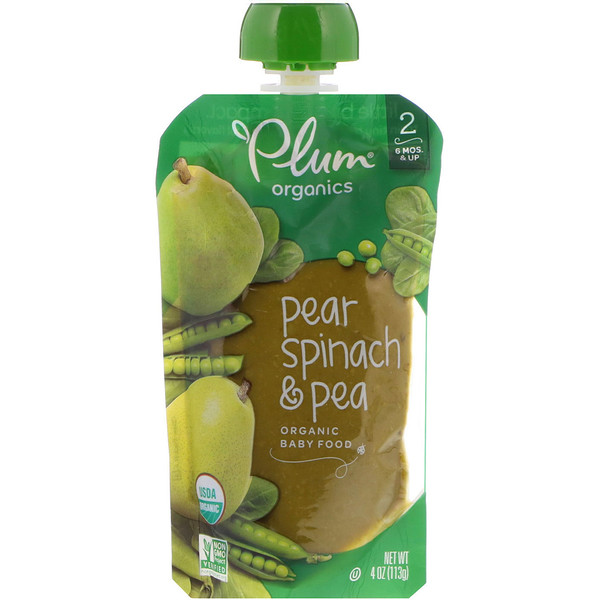 Organic Baby Food, Stage 2, Pear, Spinach & Pea, 4 oz (113 g)