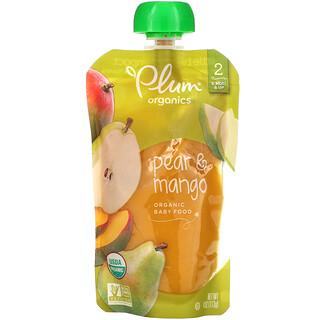 Plum Organics, Organic Baby Food, Stage 2, Pear & Mango, 4 oz (113 g)