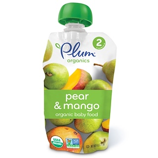 Plum Organics, Organic Baby Food, Stage 2, Pear & Mango, 4 oz (113 g)