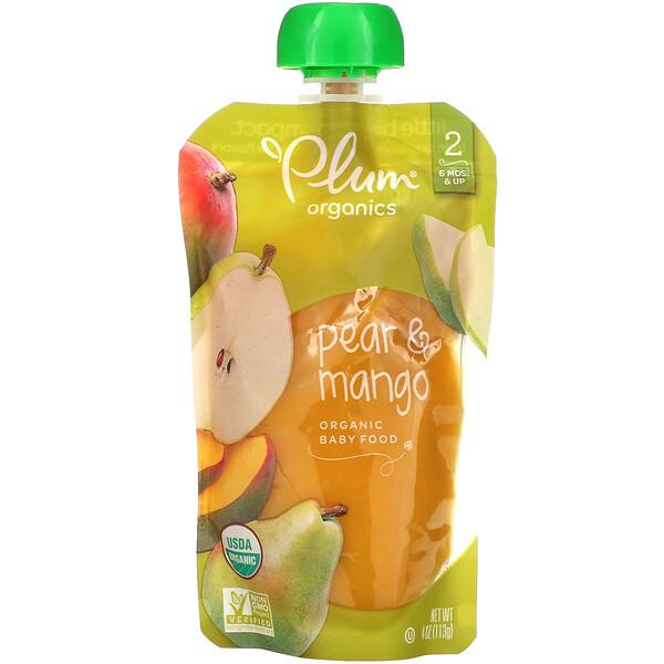 Organic Baby Food, Stage 2, Pear & Mango, 4 oz (113 g)