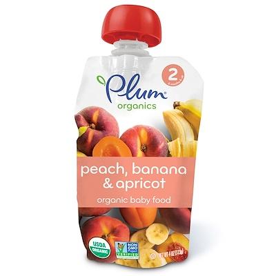 Plum Organics 有機嬰兒食品,第2階段,桃子、香蕉&杏子,4盎司(113克)