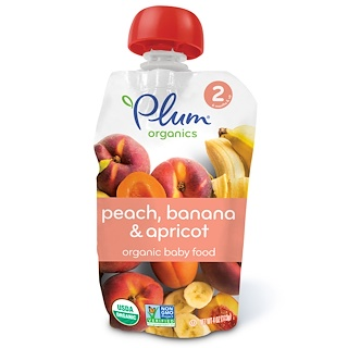 Plum Organics, Organic Baby Food, Stage 2, Peach, Banana & Apricot, 4 oz (113 g)