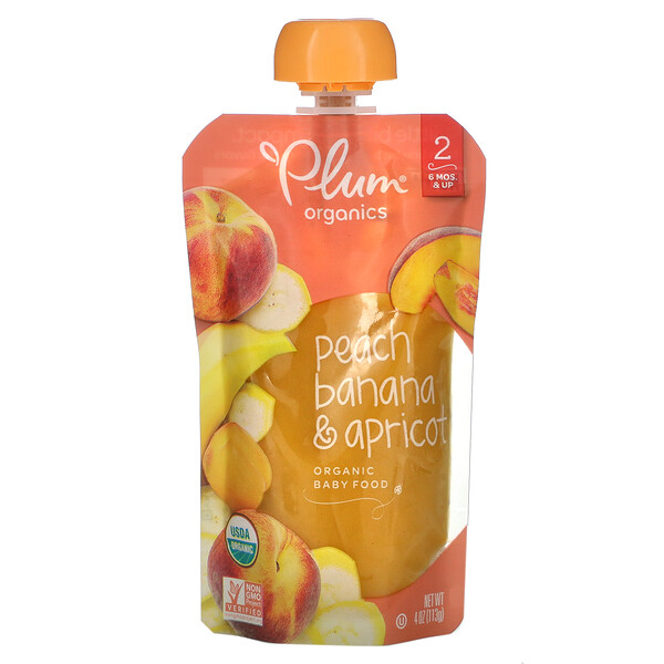 Organic Baby Food, Stage 2, Peach, Banana & Apricot, 4 oz (113 g)