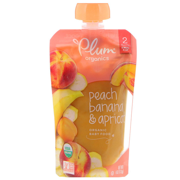 Plum Organics, Organic Baby Food, Stage 2, Peach, Banana & Apricot, 4 oz (113 g) (Discontinued Item)