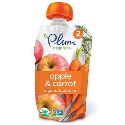 Plum Organics 有機嬰兒食品,2 段,蘋果和胡蘿蔔,4 盎司(113 克)