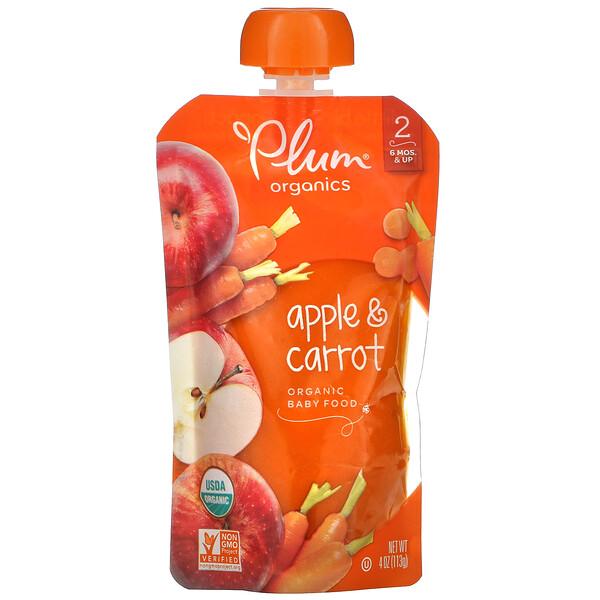 Plum Organics, Alimento para bebés Organic, Etapa 2, manzana y zanahoria, 4 oz (113 g)