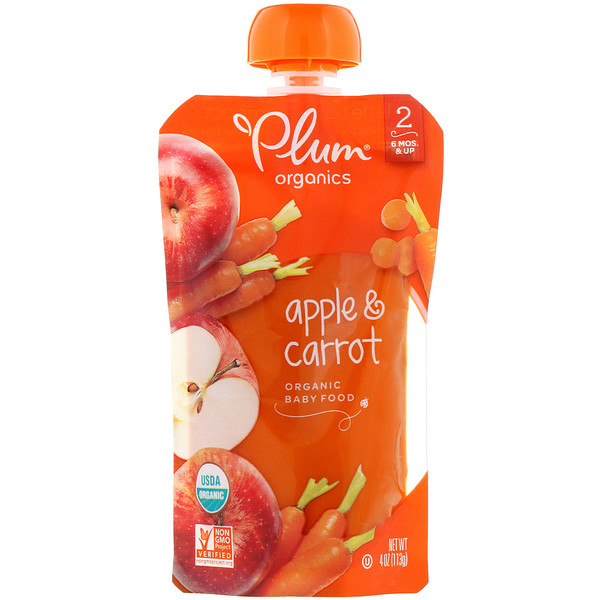 Organic Baby Food, Stage 2, Apple & Carrot, 4 oz (113 g)
