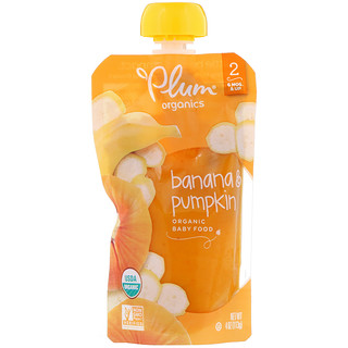 Plum Organics, オーガニックベビーフード、ステージ 2、バナナ & カボチャ、4 オンス (113 g)