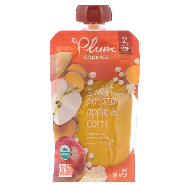 Plum Organics, ベビーフード, ステージ2, サツマイモ・トウモロコシ&リンゴ, 4オンス(113 g) (Discontinued Item)
