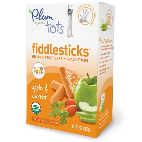 Plum Organics, Tots, Fiddlesticks, Apple Морковь, 2,12 унции (60 г) (Discontinued Item)