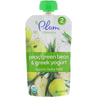 Plum Organics, Organic Baby Food, Stage 2, Pear, Green Bean & Greek Yogurt, 3.5 oz (99 g)