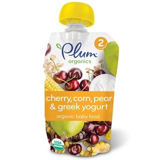 Plum Organics, Organic Baby Food,  Stage 2, Cherry, Sweet Corn & Greek Yogurt, 3.5 oz (99 g)