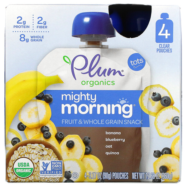 Mighty Morning, Fruit & Whole Grain Snack,  Banana, Blueberry, Oat, Quinoa, Tots, 4 Pouches, 3.17 oz (90 g) Each