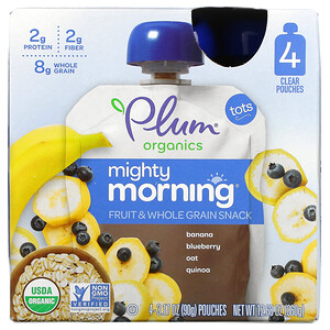 Plum Organics, Mighty Morning, Fruit & Whole Grain Snack,  Banana, Blueberry, Oat, Quinoa, Tots, 4 Pouches, 3.17 oz (90 g) Each