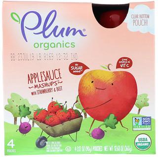Plum Organics, オーガニックス、アップルソース・マッシュアップ、イチゴ&ビート味、4袋、各3.17オンス (90 g)