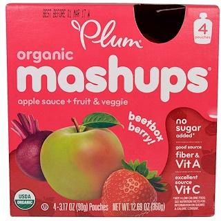 Plum Organics, Mezcolanza orgánica, baya y remolacha, puré de manzana + fruta y vegetales, 4 saquitos, 3.17 oz (90 g) c/u