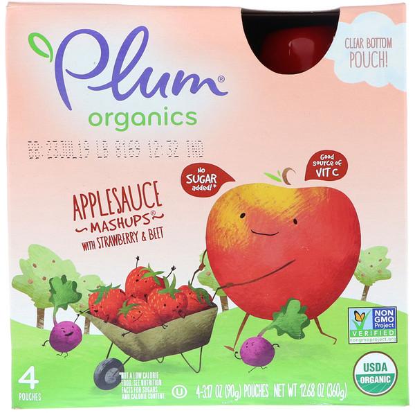 Plum Organics, オーガニックス、アップルソース・マッシュアップ、イチゴ&ビート味、4袋、各3.17オンス (90 g) (Discontinued Item)