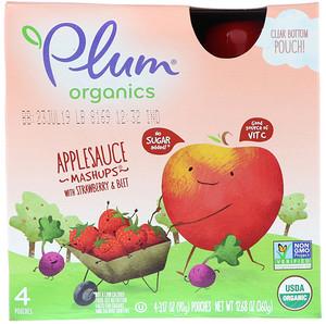 Плам Органикс, Organics, Applesauce Mashups with Strawberry & Beet, 4 Pouches, 3.17 oz (90 g) Each отзывы