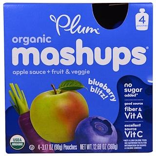 Plum Organics, Mezcolanzas orgánicas, ataque de arándanos, 4 saquitos, 3.17 oz (90 g) c/u
