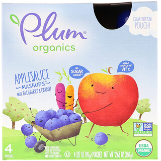 Plum Organics, オーガニックス、アップルソース・マッシュアップ、ブルーベリー&キャロット味、4袋、各3.17 oz (90 g)