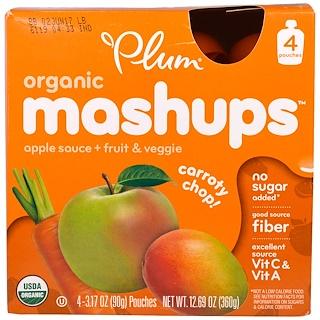 Plum Organics, Ciruela, Fusión orgánica, Rebanada de zanahoria, 4 bolsas, 3,17 oz (90 g) cada una