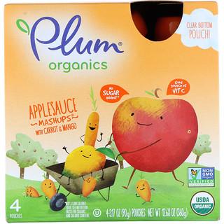 Plum Organics, Organics  Applesauce Mashups with Carrot & Mango, 4 Pouches, 3.17 oz (90 g) Each