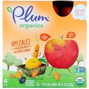 Плам Органикс, Organics  Applesauce Mashups with Carrot & Mango, 4 Pouches, 3.17 oz (90 g) Each отзывы покупателей