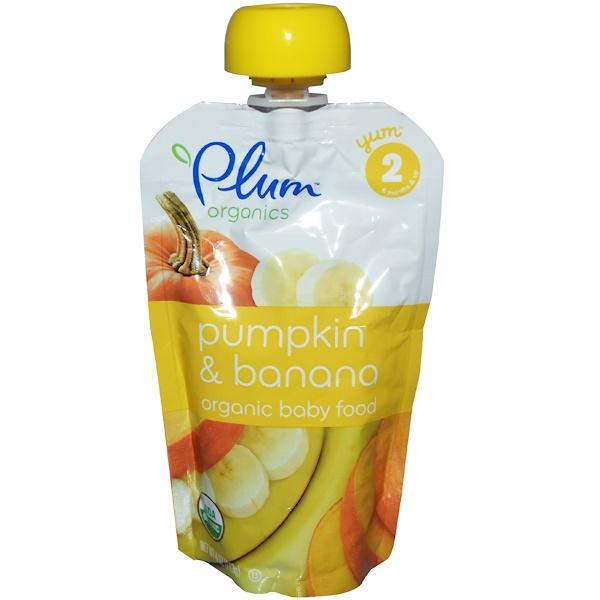 Plum Organics, Baby Food, Pumpkin & Banana, 6 Pouches, 4 oz (113 g) Each (Discontinued Item)