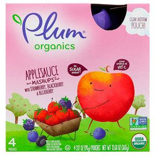 Plum Organics, Organic Applesauce Mashups with Strawberry, Blackberry & Blueberry, 4 Pouches, 3.17 oz (90 g) Each