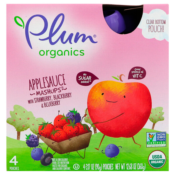 Organic Applesauce Mashups with Strawberry, Blackberry & Blueberry, 4 Pouches, 3.17 oz (90 g) Each