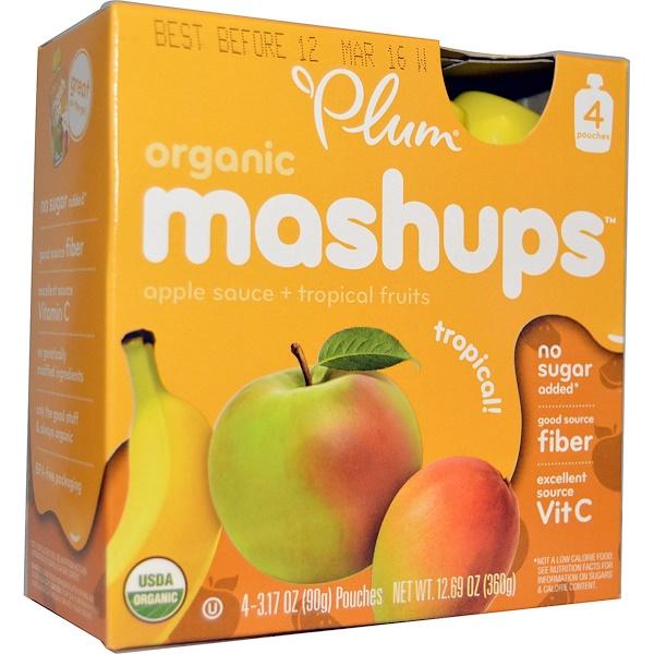 Plum Organics, プラム(Plum), オーガニックマッシュアップ, トロピカル, 4ポーチ, 各3.17オンス(90 g) (Discontinued Item)