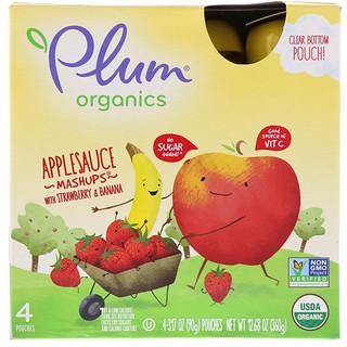 Plum Organics, ストロベリー&バナナ入りのオーガニックアップルソースマッシュアップ、  4包、各3.17オンス(90g)