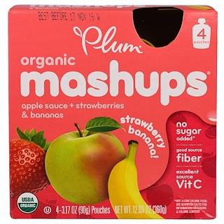 Plum Organics, Ciruela, Fusión orgánica, Banana y fresa, 4 bolsas, 3,17 oz (90 g) cada una
