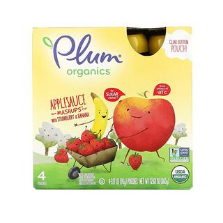 Plum Organics, 苹果酱混合物,含草莓和香蕉,4 袋,每袋 3.17 盎司(90 克)