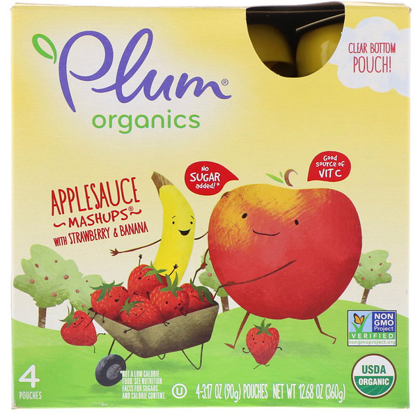 Organic Applesauce Mashups with Strawberry & Banana, 4 Pouches, 3.17 oz (90 g) Each