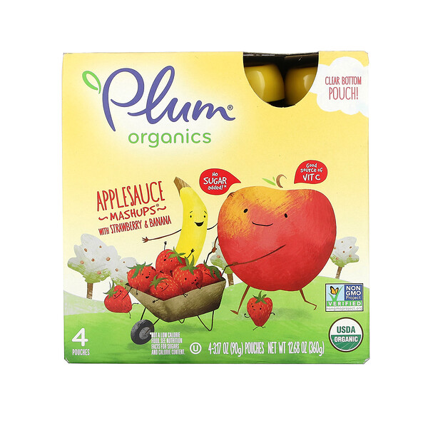 Applesauce Mashups with Strawberry & Banana, 4 Pouches, 3.17 oz (90 g) Each