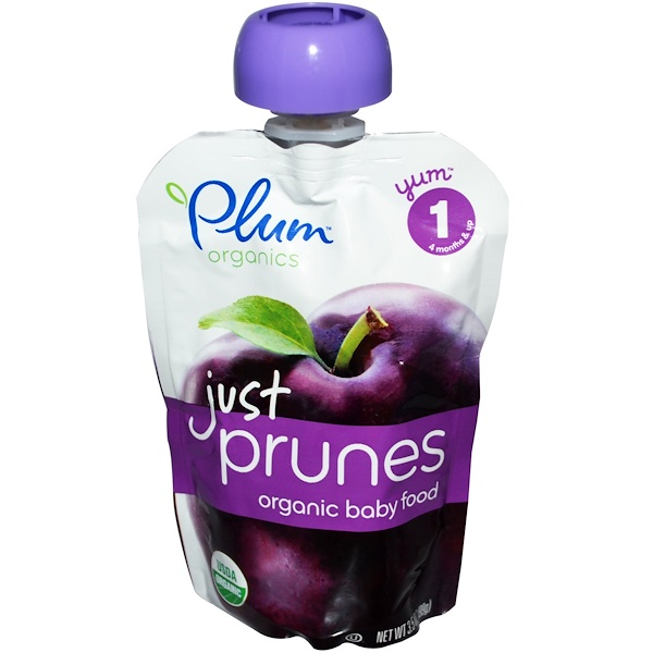 Plum Organics, Baby Food, Just Prunes, 6 Pouches, 3.5 oz (99 g) Each (Discontinued Item)