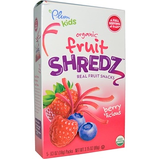 Plum Organics, Kids, Fruit Shredz, Berry'licious, 5 Packs, .63 oz (18 g) Each