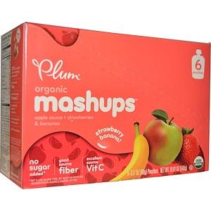 Плам Органикс, Organic Mashups, Apple Sauce + Strawberries & Bananas, 6 Pouches, 3.17 oz (90 g) Each отзывы