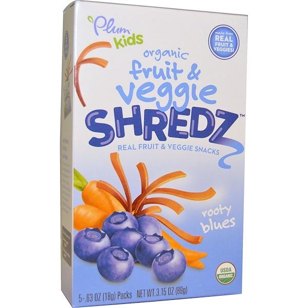 Plum Organics, Kids, Fruit & Veggie Shredz, Rooty Blues, 5 Packs, .63 oz (18 g) Each (Discontinued Item)