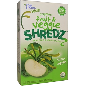 Плам Органикс, Kids, Fruit & Veggie Shredz, Super Apple, 5 Packs, .63 oz (18 g) Each отзывы