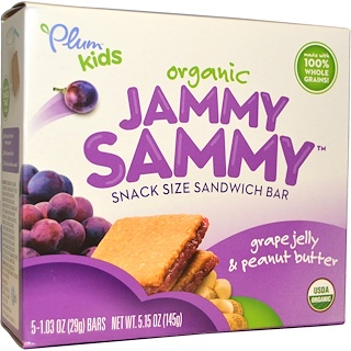 Plum Organics, Kids, Organic Jammy Sammy, Grape Jelly & Peanut Butter, 5 Bars, 1.03 oz (29 g) Each