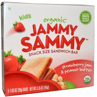 Plum Organics, Kids, Organic Jammy Sammy, Strawberry Jam & Peanut Butter, 5 Bars, 1.03 oz (29 g) Each